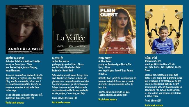 Projection de 4 courts métrages soutenus et/ou tournés en Normandie